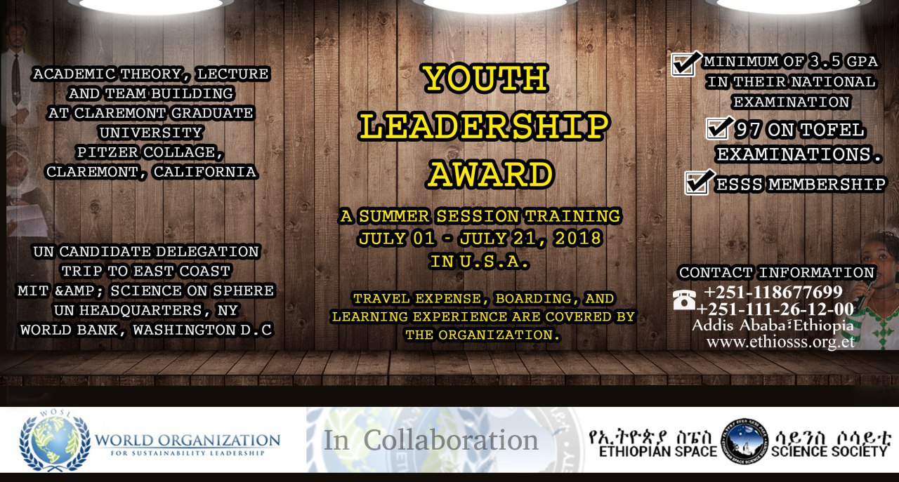 Apply for ESSS Youth Leadership Award - Space in Africa