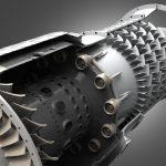 Artistic view of 5 kN turbojet gas turbine.