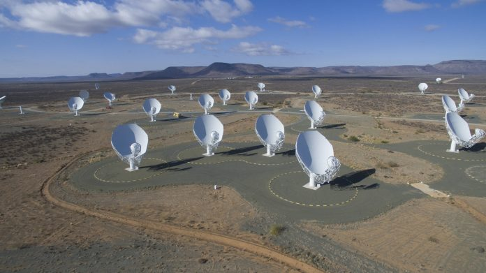 The MeerKAT radio telescope shortly before completion. Source: Phys.org