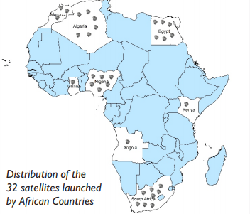 Map of African Countries with satellites
