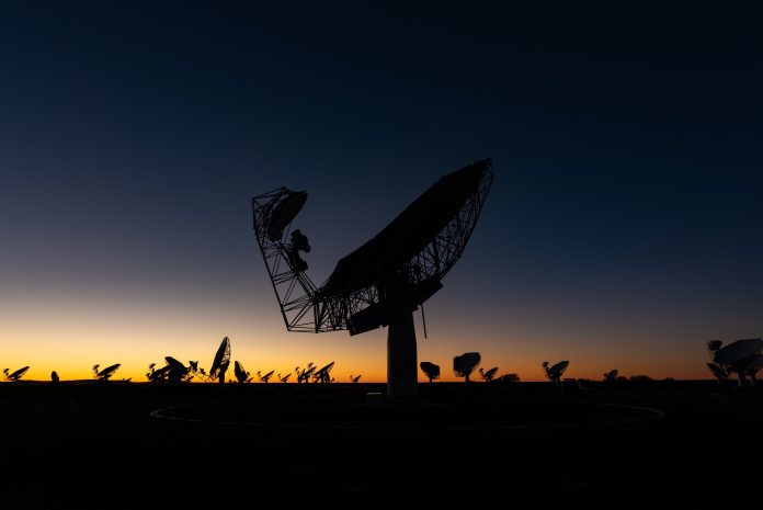 The 64-array MeerKAT radio telescope in the Northern Cape. Photo: SARAO