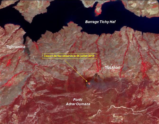 Image satellitaire a moyenne resolution du 06 juillet 2019 montrant le depart de feu 2