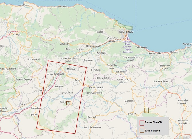 Localisation de image satellitaire a haute resolution Alsat-2B du 13 juillet 2019 1
