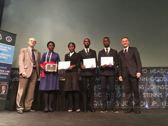 African team receiving the runner-up award at the 2019 Manfred Lachs Moot Court Competition