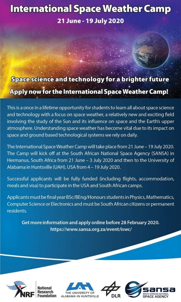 Weather Events 2020.2020 International Space Weather Camp Space In Africa
