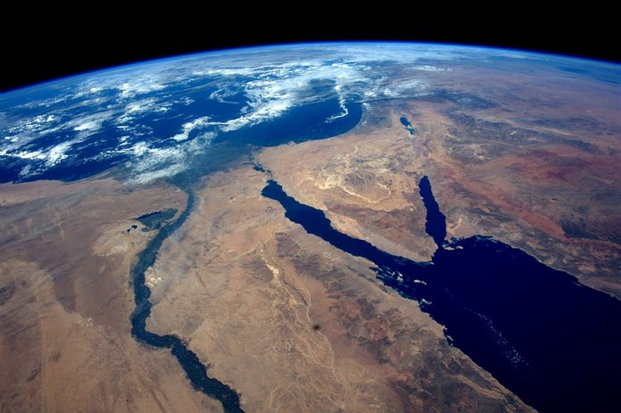 Egypt, the Sinai Desert and the Red Sea seen from the ISS.