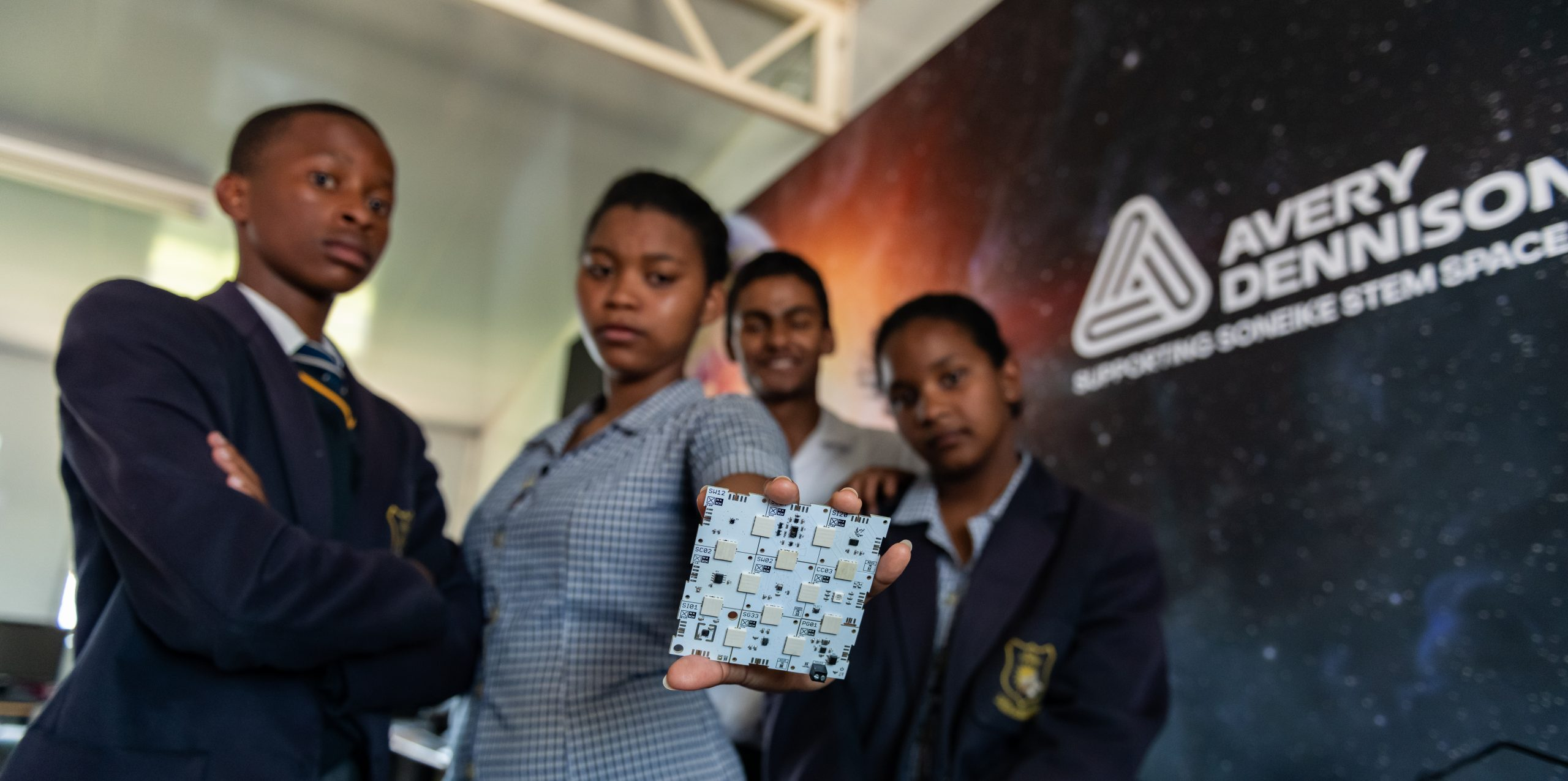 Students from Soneike High School in South Africa with the XinaBox xChips