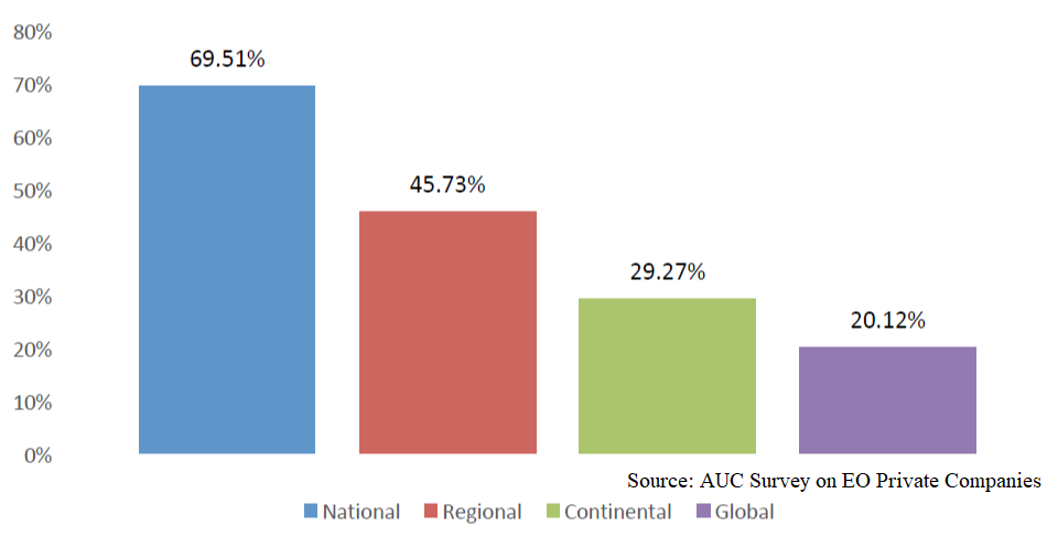 Geographical coverage of African private EO and geospatial companies