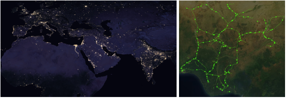 Satellite images show the existing electricity. The grid has been mapped using machine learning. Source Omdena.com