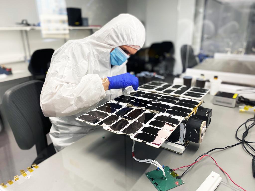 NanoAvionics Engineer Preparing 6U Satellite for Functional Tests. Photo credit: NanoAvionics