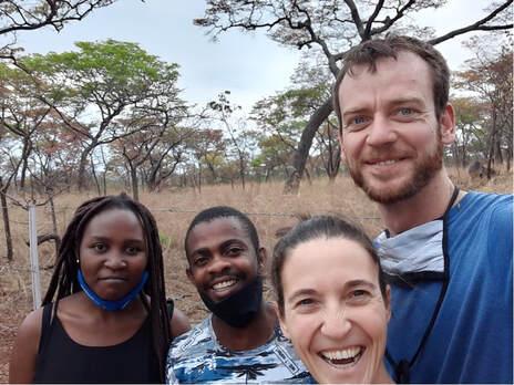 The Team From the left, Shania (UZ), Tafadzwa (NUST), Claire and William