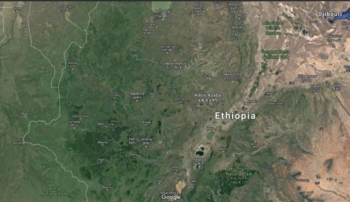 Satellite image of Ethiopia
